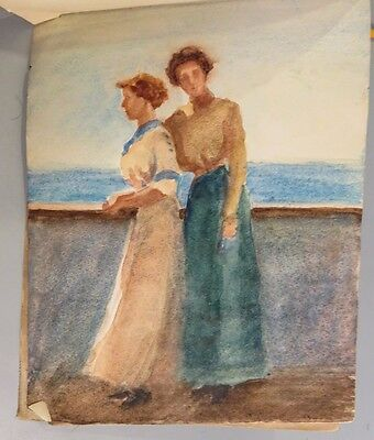 1911 Travel Sketchbook - 16 ORIGINAL WATERCOLORS - Shipside TURKEY Athens ITALY