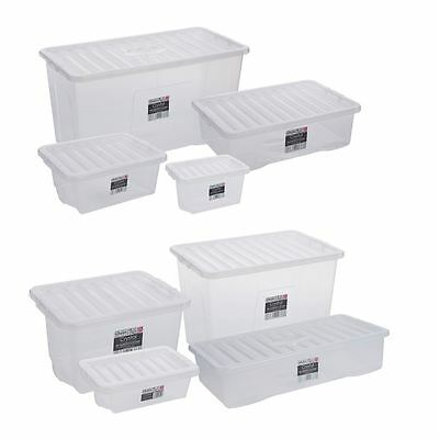 Clear Plastic Storage Boxes Box w/ Lids Container Home Office Stackable UK Made