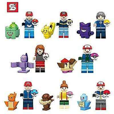16 Pc FITS WITH LEGO POKEMON TRAINERS GO MINIFIGS POKE BALL PIKACHU SQUIRTLE UK