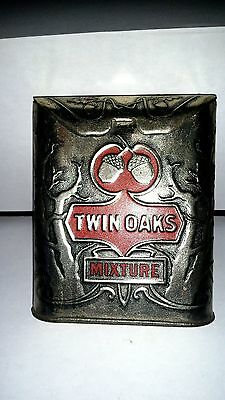 Vintage Advertising Twin Oaks Roll Top Tobacco Vertical Pocket Tin