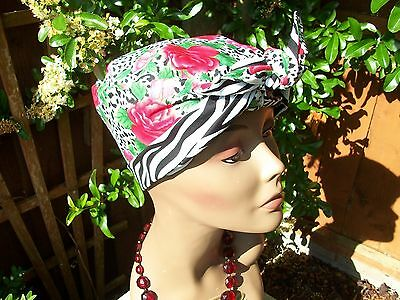 Vintage Inspired 40's Look Reversible Triangle Shape Turban Scarf choice of 7