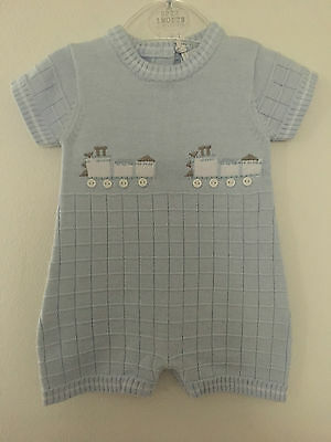 Baby Boys Knitted Cotton Trains Romper Beautiful Quality 1m 3m 6m