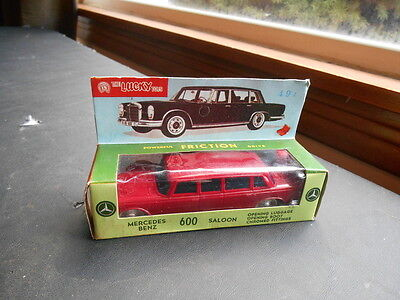 Scarce Vintage Lucky Toys Friction Mercedes Benz 600 Saloon 176 in Original Box