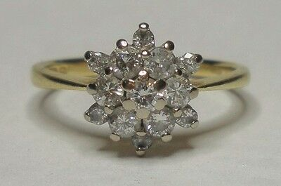 18ct Gold 0.33ct Diamond Cluster Ring Size J