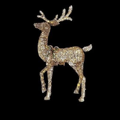 60 in. LED Lighted Gold PVC Animated Standing Deer Christmas Outdoor Yard Decor