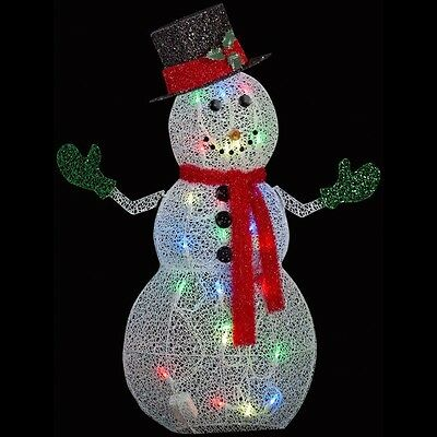 50 in. Bright Controllable Crystal Swirl Snowman Light Yard Sculpture Decoration