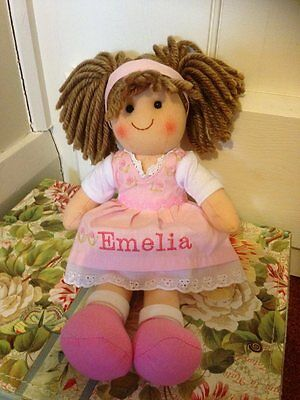 Personalised Rag Doll Rose Christening New Baby Flower Girl Gift 28 cms Ragdoll