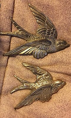 Vintage Set Of 2 Gold Tone BirdS Wall Mounted