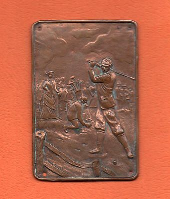 Original c1900 Engraved Copper Plate showing Tournament Play, Golfer Teeing Off