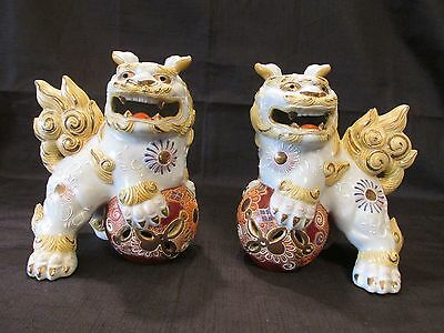 Pair of Vintage Japanese Komainu Foo Dogs Guardian Lions Protector Feng Shui
