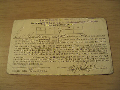 "1918 WWI Postcard~""NOTICE of CLASSIFICATION"" Selective Service Draft Board~"