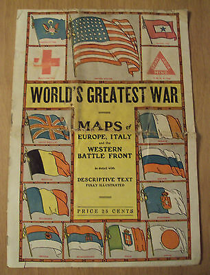 "1917 WWI Maps of Italy/Europe/Western Front~""WORLD'S GREATEST WAR""~Photos~"