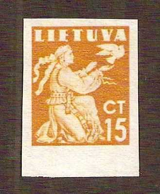 Lithuania 1940 definitives 15c IMPERF !! ... MNG