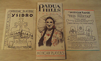 "1938 Lot Brochure/Flyers~""PADUA HILLS THEATRE""~Mexican Players/Claremont CA~MAP~"
