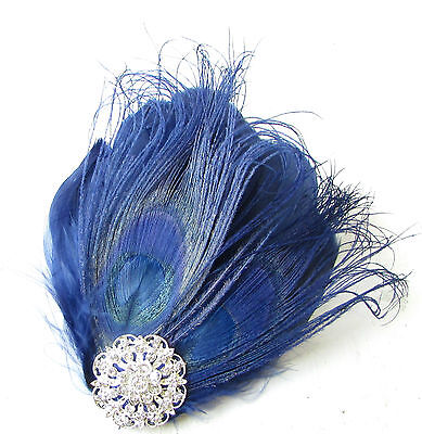 Navy Blue Silver Peacock Feather Fascinator Hair Clip Headpiece Races Vtg 1814