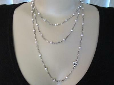 "David Yurman Pearl Chain Sterling Silver Necklace 60"" Designer Signed"