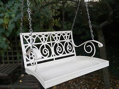 Swing Seat Wild Bird Table Feeder, Mothers Day Gift, Vintage French White Metal