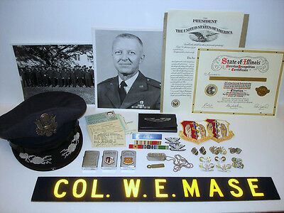 WWII-Vietnam USAF Colonel Group, Flight Ace Hat, Zippo Lighters, Patches, Pins
