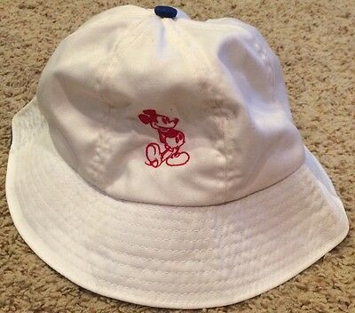 Vintage Walt Disney Productions Bucket Hat Small Mickey Mouse White SunUSA Made