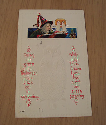 1914 Embossed 'OWL' HALLOWEEN Postcard~Witch Reading Book/PUMPKIN Lighted Eyes~
