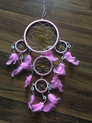 """17"""" Dream Catcher with Feathers and Shells - Pink"""