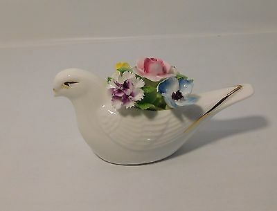 White Bird with Flower Bouquet Gold Accents Royal Doulton Bone China Vintage