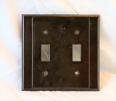 Vintage Brown BAKELITE Double Light Switch Plate Cover Raised Centre Style
