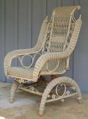 Antique Victorian Queen Anne 1800 -1899 Wicker Rocker Chair America