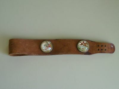 "Vintage Leather Belt With 3 Large 1 3/4"" Rosettes Great Collectable!"
