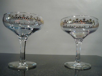 2 Gold Rimmed Champagne Glass