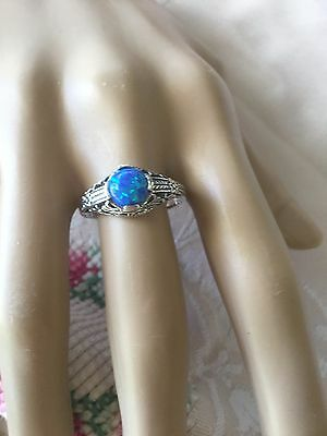 ANTIQUE ART DECO VINTAGE STERLING SILVER RING WITH BLUE OPAL STONE  SIZE 10 or U