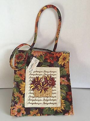 Rare~Longaberger~Autumn Harvest Embroidery Canvas Lunch Tote Bag~Collectible~New