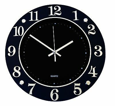 Wall Clock Glass Black with Silver Highlights Modern Stylish Classy Large 32cm