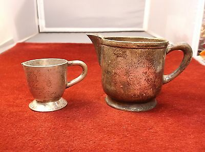 """Nice Pair Of Vtg Antique Silverplated Creamers """"h.h.t."""" """"debs Hospital Supplies"""""""