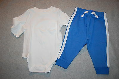 9cd6bbbba621 Baby Boys Outfit WHITE L/S SHIRT w/ Pocket KNIT BLUE PANTS Ribbed Ankles