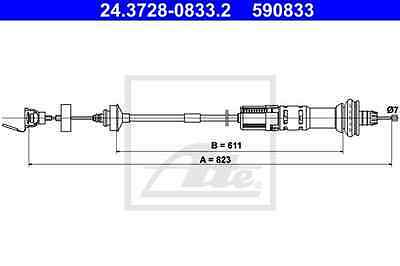 Cable Accionamiento del embrague PEUGEOT - ATE 24.3728-0833.2