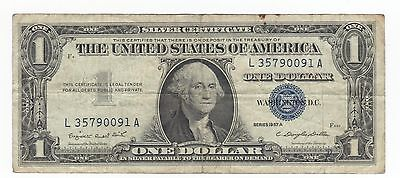 1957A Silver Certificate Blue Seal #L35790091A $1.old currency