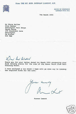 Norman Lamont Politician Hand signed House of Commons letter 1995