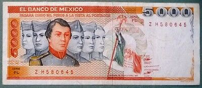 MEXICO 5000 5 000 PESO NOTE , P 87  issued 19.07. 1985,