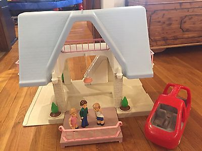 VINTAGE LITTLE TIKES Two Story Dollhouse Toy Blue Roof