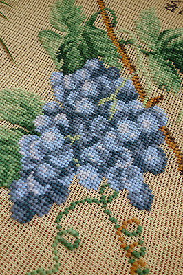Vintage Hand Crafted Grapes With Vines Preworked Needlepoint Canvas