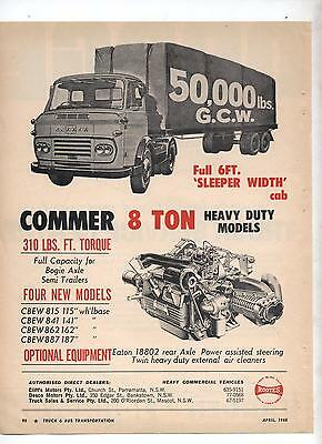 Commer 8 Ton Truck Original Advertisement removed from a Magazine