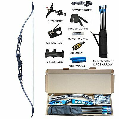 Recurve Bow Set Archery Takedown R2 68 Inch Target&Hunting RH Ready to Shoot