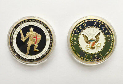 3pcs US Navy Put on the Whole Armor of God Gold Plated Challenge Coin