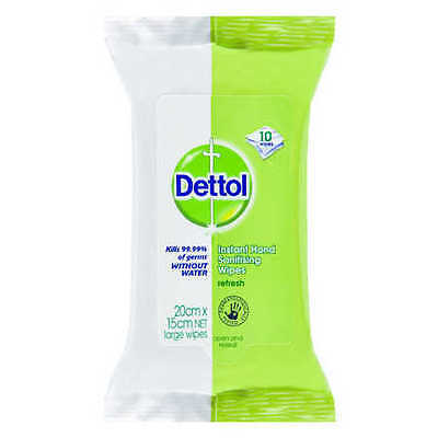 NEW Dettol Instant Hand Sanitising Wipes 10