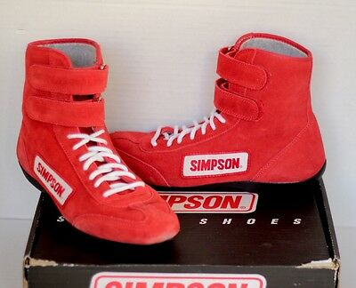 Simpson Race Products Motor Sport Racing Shoes Red Leather High Top w/Box Sz 8.5