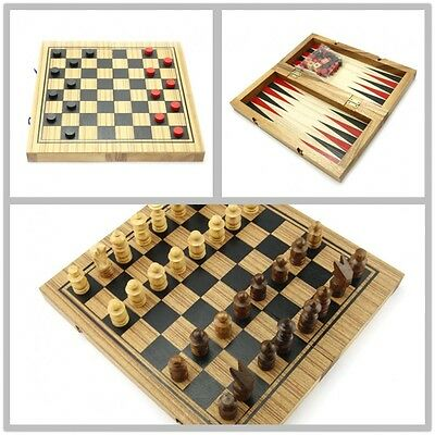 3 in 1, Backgammon, Draught & Chess, Wood, Board Game