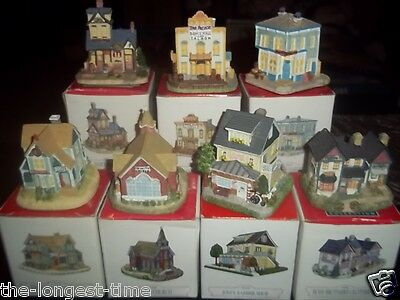 Lot of 7 Liberty Falls Americana Collection Buildings Gold Rush Town W/B
