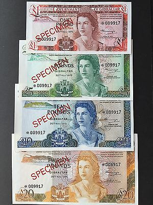 Gibraltar 1 5 10 & 20 Pounds Set of 4 Specimen Notes Dated 1975 Uncirculated UNC