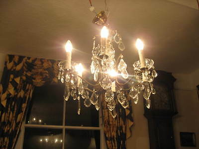 Stunning French Vintage Large 6 Branch Chandelier & Lots Of Crystal Drops /3870